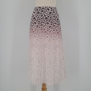 WD.NY Leopard Purple Pink White Ombre Midi Skirt